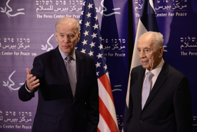 Former Israeli President Shimon Peres meets with United States Vice President, Joe Biden, at the Peres Center for Peace in Jaffa, March 8 2016, during Biden's official visit to Israel and the Palestinian Authority. Photo by Tomer Neuberg/Flash90