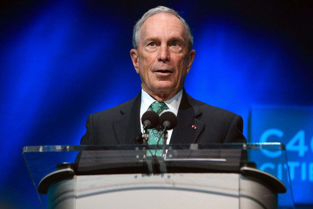 Former New York Mayor Michael Bloomberg, shown here speaking during the C40 cities awards ceremony, in Paris on Dec. 3, 2015. (AP Photo/Thibault Camus, File)