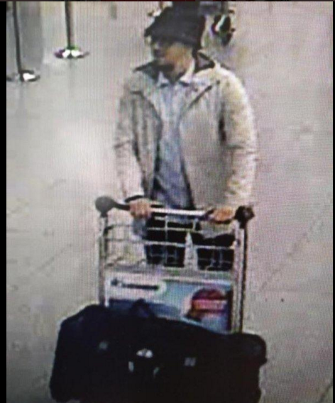 A security image of the suspect wanted by Belgian police in the airport bombing.