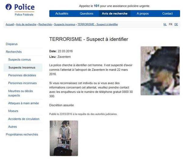 Wanted poster of airport terror suspect released by Belgian police.