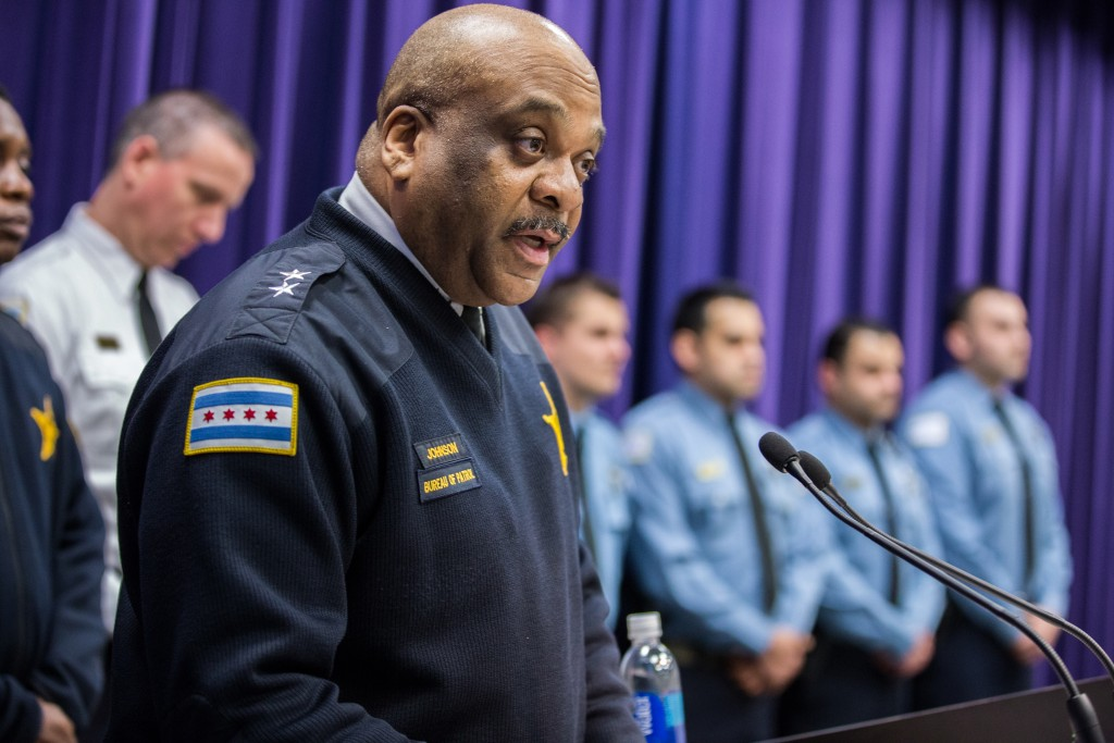 Chicago Police Department Chief of Patrol Eddie Johnson speaking during a news conference at the Public Safety Headquarters in Chicago last week. (Zbigniew Bzdak/Chicago Tribune via AP)