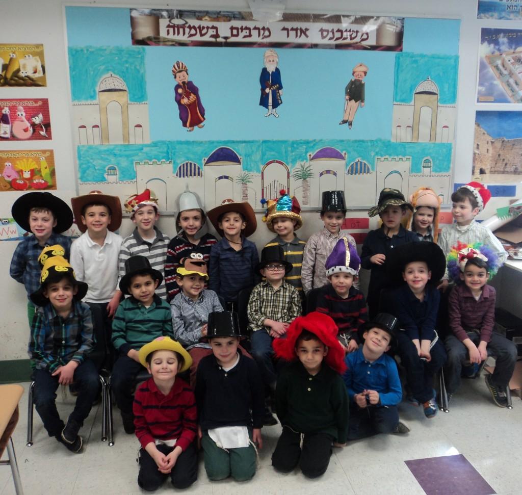 Rabbi Katz's Pre1A class in Yeshiva Katana of Passaic getting ready for Purim