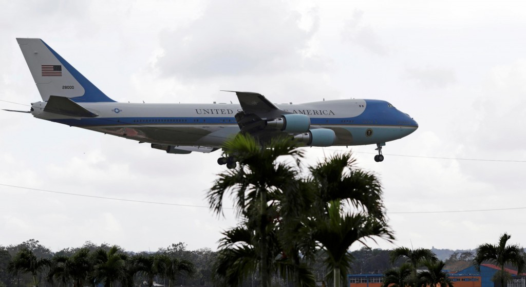 Air Force One, carrying President Barack Obama and his family, comes in to land at Jose Marti Airport in Havana on Sunday afternoon. (Reuters/Ueslei Marcelino)