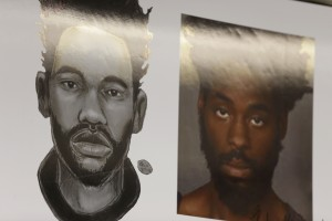 Gregory Alfred is seen in a picture, right, and a sketch by police sketch artist Matthew Klein. Alfred has been charged with attempted murder. (AP Photo/Seth Wenig)