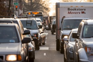 Cars sit in traffic along Florida Avenue in the Shaw neighborhood of Washington on Wednesday. (AP Photo/Andrew Harnik)