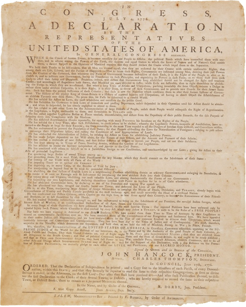 A 1776 broadside printing of the Declaration of Independence that will be auctioned April 5 in New York. (Heritage Auctions via AP)