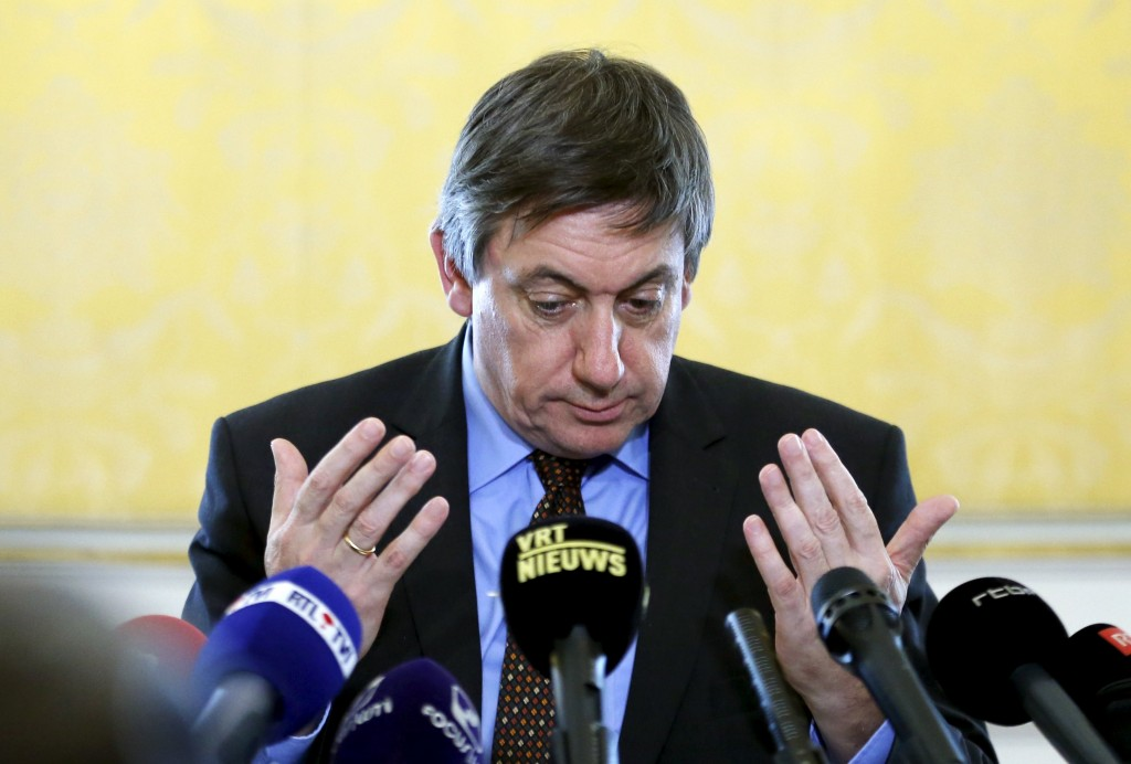 Belgium's Interior Minister Jan Jambon gestures as he addresses a news conference in Brussels, February 23, 2016. REUTERS/Francois Lenoir
