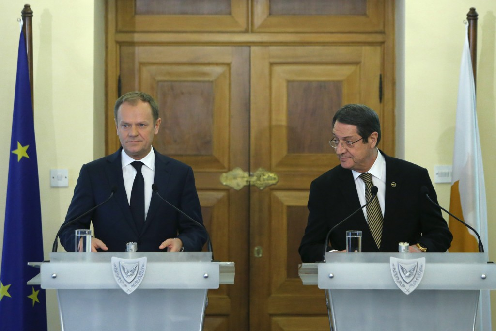 European Council President Donald Tusk (L) and Cyprus' President Nicos Anastasiades attend a news conference after their meeting at the Presidential Palace in Nicosia, Cyprus March 15, 2016. REUTERS/Petros Karadjias/Pool