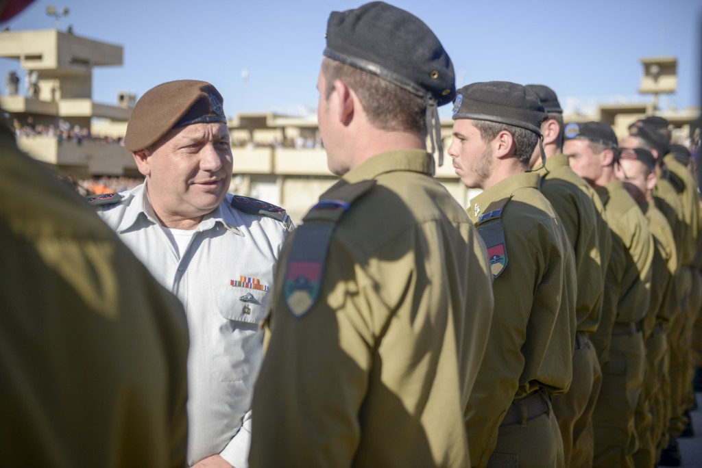 "IDF Chief of Staff Gadi Eisenkott attends a Graduation Ceremony for IDF officers on February 24, 2016. Photo by IDF Spokesperson *** Local Caption *** ???? ?????? ???? ????? 44, ????? ???? ???""? ???????"