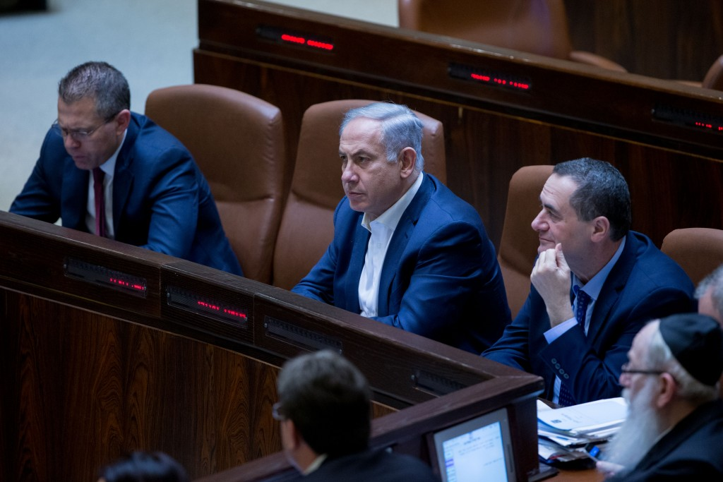 Prime minister Benjamin Netanyahu seen at the Knesset during a vote on the bill that would allow to suspend a Knesset member. (Yonatan Sindel/Flash90)