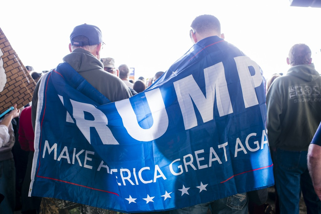 Supporters of Republican presidential candidate Donald Trump gather at Youngstown Airport on Monday in Vienna, Ohio. (Angelo Merendino/Getty Images)