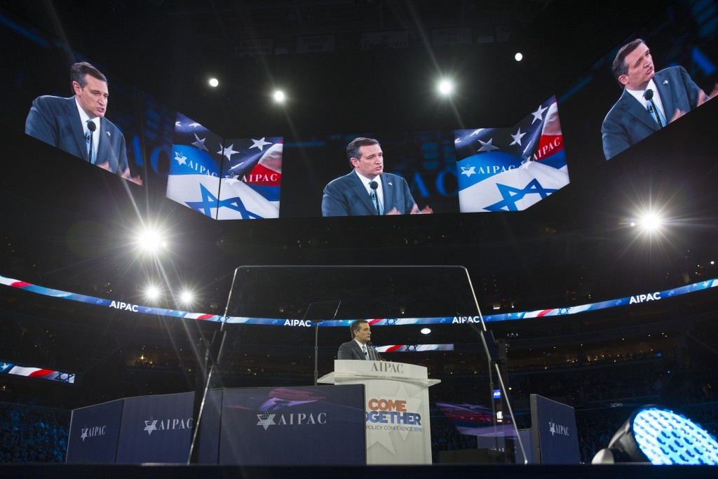 Republican presidential candidate Ted Cruz speaks at the AIPAC Policy Conference at the Verizon Center in Washington on Monday evening. (AP Photo/Evan Vucci)