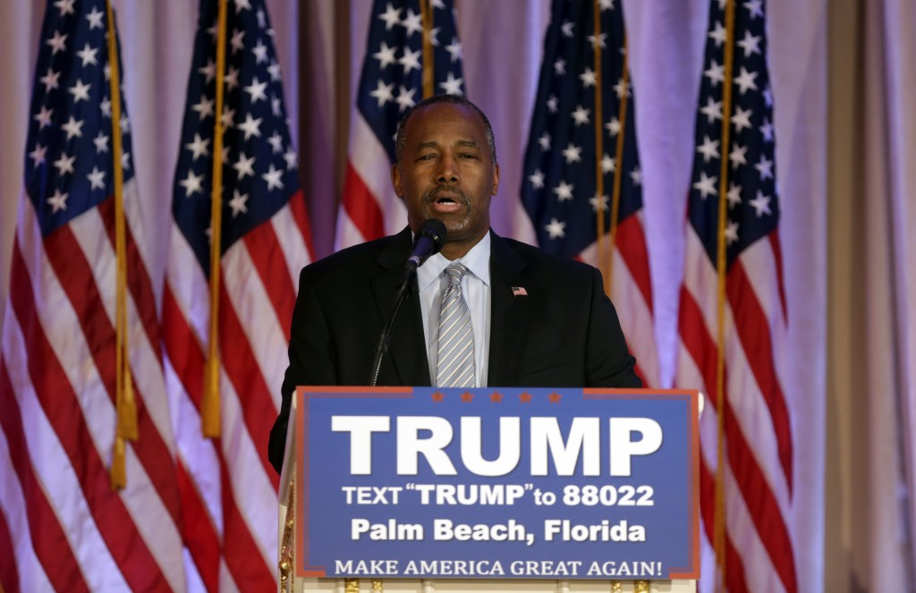 Former Republican presidential candidate Ben Carson speaks after announcing he will endorse Republican presidential candidate Donald Trump, during a news conference at the Mar-A-Lago Clubvin Palm Beach, Fla., on Friday. (AP Photo/Lynne Sladky)