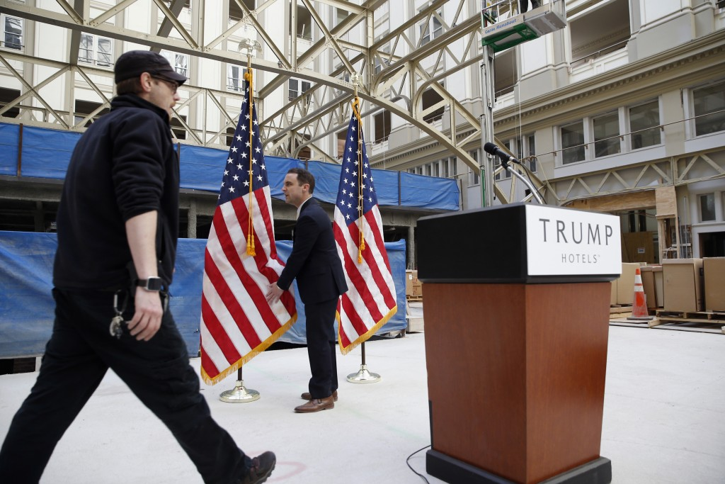 The atrium is set up for Donald Trump to speak during a campaign event in the Old Post Office Pavilion in Washington, soon to be a Trump International Hotel, on Monday. (AP Photo/Alex Brandon)