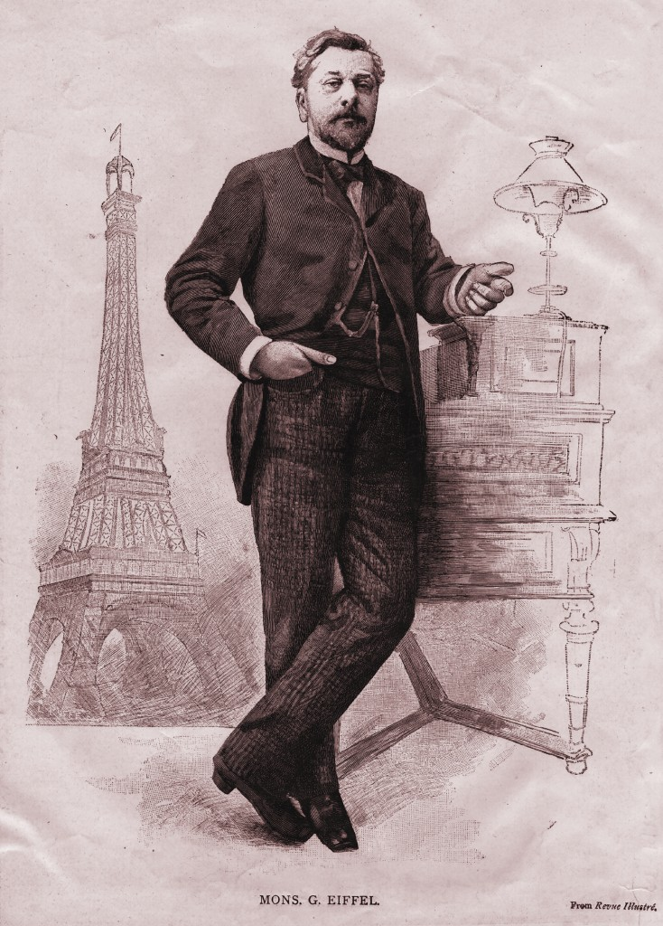 French engineer Alexandre Gustave Eiffel and his most famous project, the Eiffel Tower.  (Hulton Archive/Getty Images)
