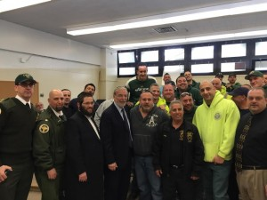 Assemblyman Dov Hikind with NYC Sanitation employees and yeshiva bus drivers at Monday's lunch. (Office of Assemblyman Hikind)