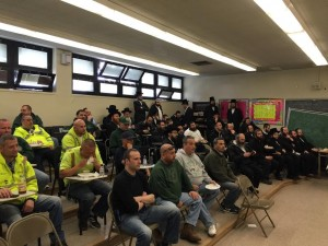 Yeshiva bus drivers and NYC Sanitation employees at Monday's lunch. (Office of Assemblyman Dov Hikind)