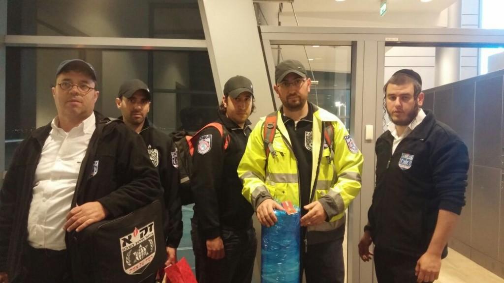 Members of a Zaka team on their way to Istanbul Motzoei Shabbos. (Zaka)