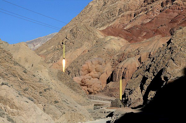 Ballistic missiles are launched and tested in an undisclosed location, Iran, in this handout photo released by Farsnews on March 9, 2016. REUTERS/farsnews.com/Handout via Reuters ATTENTION EDITORS - THIS IMAGE WAS PROVIDED BY A THIRD PARTY. REUTERS IS UNABLE TO INDEPENDENTLY VERIFY THE AUTHENTICITY, CONTENT, LOCATION OR DATE OF THIS IMAGE. FOR EDITORIAL USE ONLY. NOT FOR SALE FOR MARKETING OR ADVERTISING CAMPAIGNS. EDITORIAL USE ONLY. NO RESALES. NO ARCHIVE.