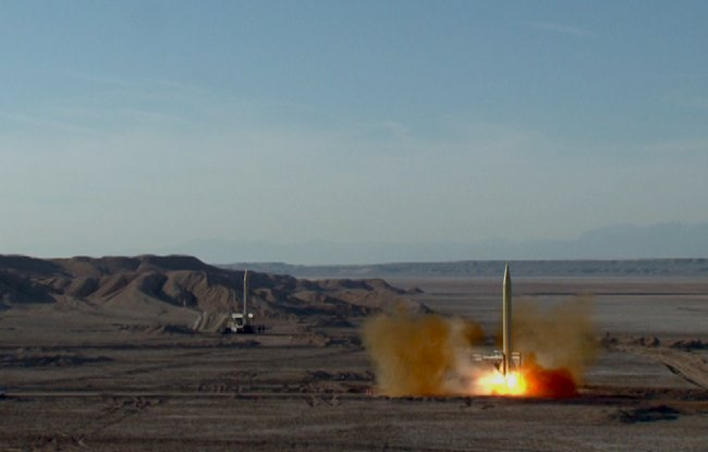 A ballistic missile is launched and tested in an undisclosed location, Iran, in this handout photo released by the official website of Islamic Revolutionary Guard Corps (IRGC) on March 8, 2016. REUTERS/sepahnews.com/Handout via Reuters ATTENTION EDITORS - THIS IMAGE WAS PROVIDED BY A THIRD PARTY. REUTERS IS UNABLE TO INDEPENDENTLY VERIFY THE AUTHENTICITY, CONTENT, LOCATION OR DATE OF THIS IMAGE. FOR EDITORIAL USE ONLY. NOT FOR SALE FOR MARKETING OR ADVERTISING CAMPAIGNS. EDITORIAL USE ONLY. NO RESALES. NO ARCHIVE.