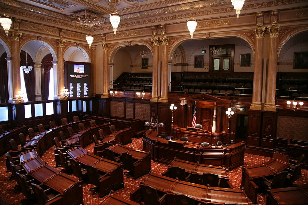 The State Senate Chamber of the Illinois State Capitol in Springfield.