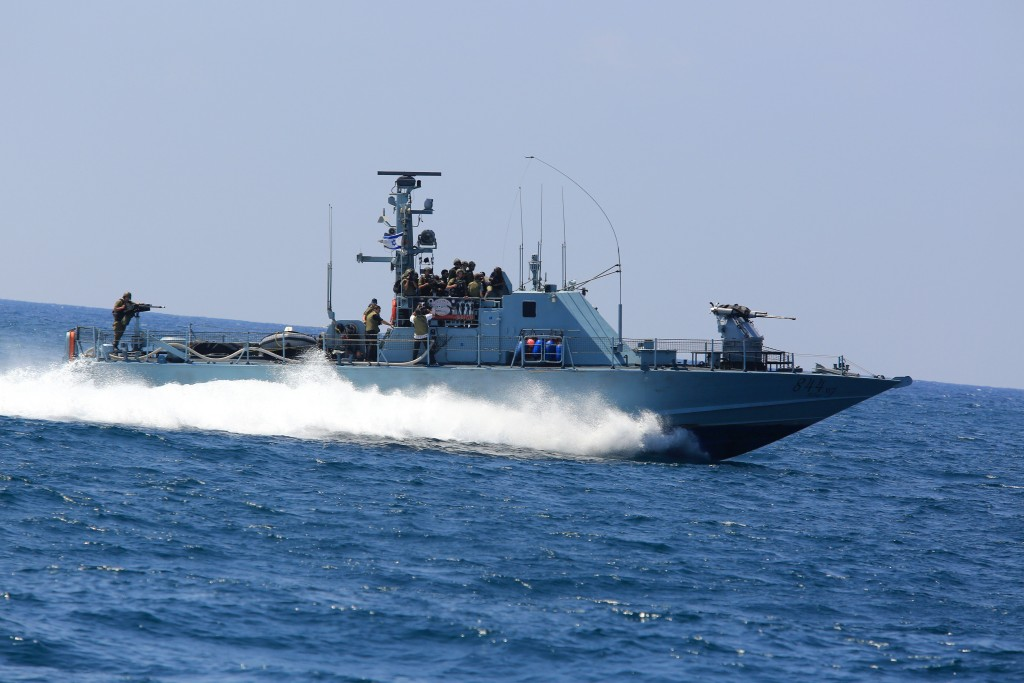 An Israeli Navy vessel seen off the coast of Gaza. (Edi Israel/Flash90)