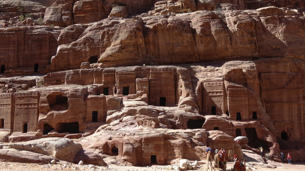 Houses and temples carved into the rock in Petra, Jordan. (Lucie March/Flash 90)