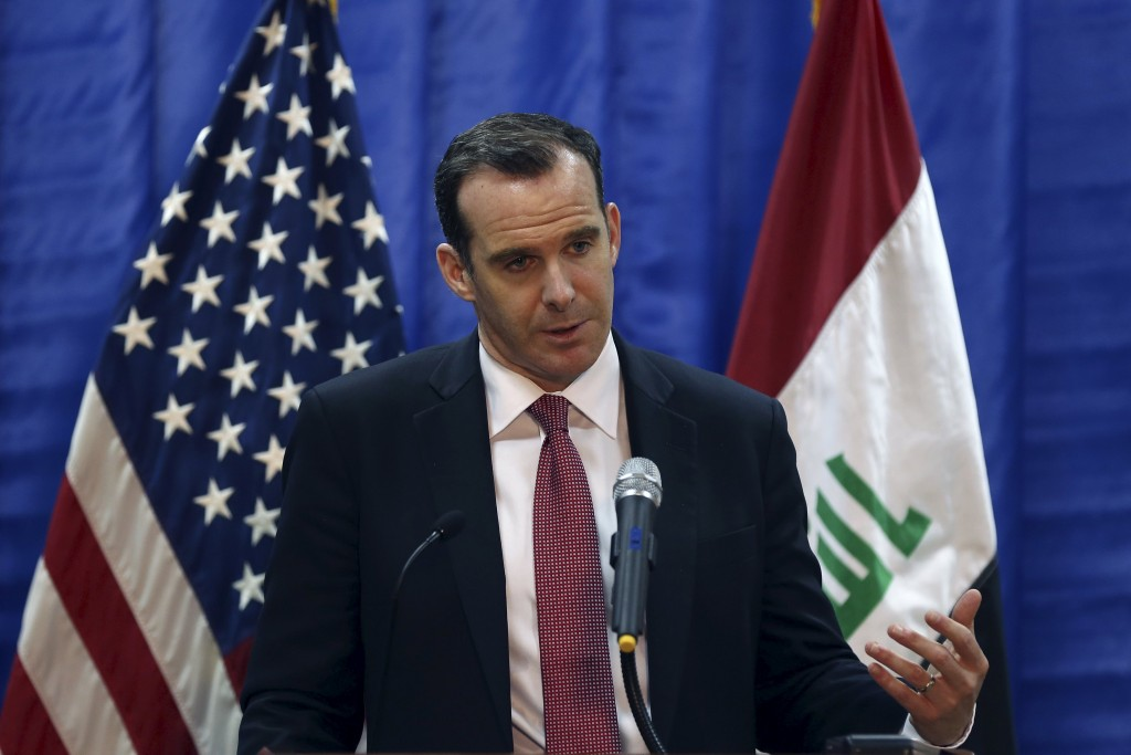 Brett McGurk, President Barack Obama's envoy to the U.S.-led coalition fighting the Islamic State group, speaks to during news conference at the U.S. Embassy in Baghdad, Iraq, March 5, 2016. REUTERS/Hadi Mizban/Pool