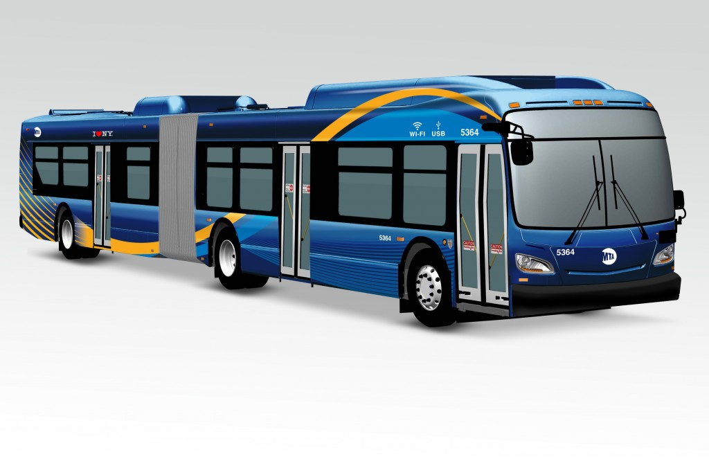 Renderings of the new MTA buses unveiled during a press conference on Tuesday morning. (Office of Gov. Cuomo)