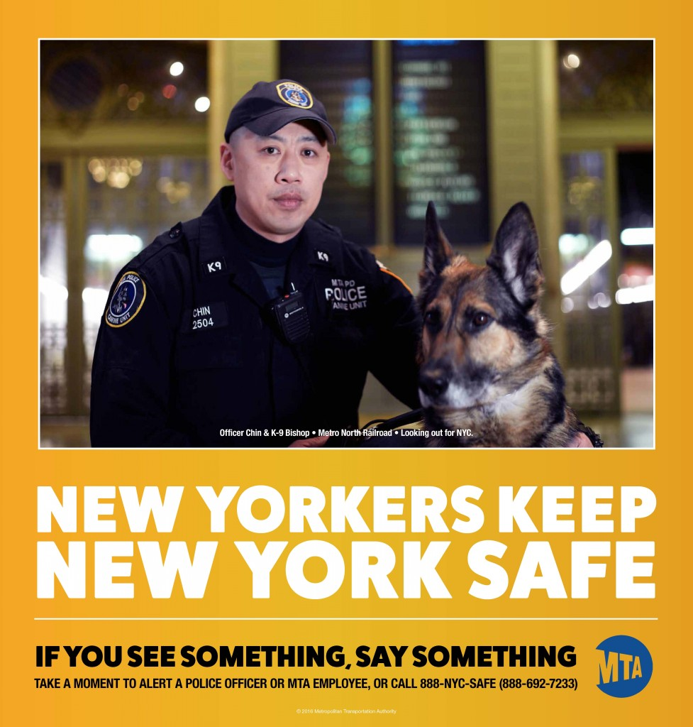 """A sign unveiled Monday that will be placed on MTA buses and subways in a re-launched """"See Something, Say Something"""" campaign. (MTA)"""