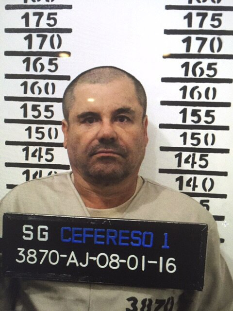 """Joaquin """"El Chapo"""" Guzman's mug shot - inmate number 3870 at the Altiplano maximum security federal prison in Almoloya, Mexico - taken on Jan. 8, 2016. (Mexican federal government via AP)"""