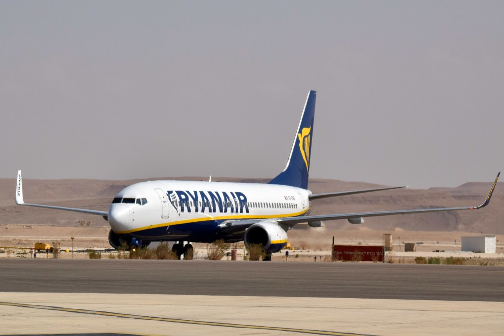 File photo of a Ryanair plane at the airport in Eilat. (Flash90)