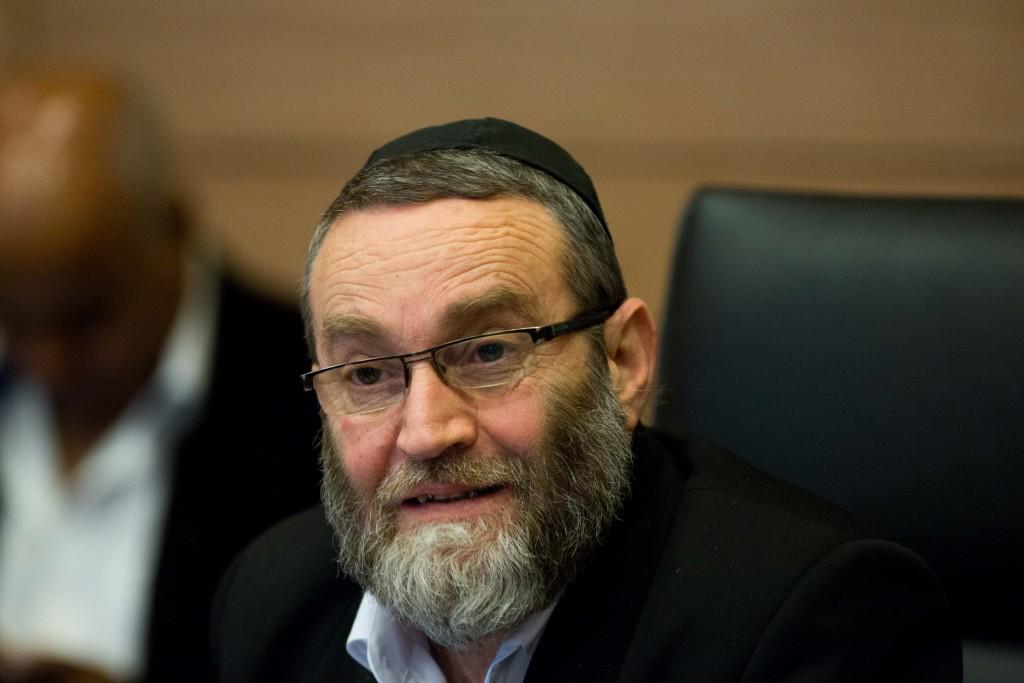 Chairman of the Knesset Finance Committee, UTJ MK Rabbi Moshe Gafni. (Yonatan Sindel/Flash90)