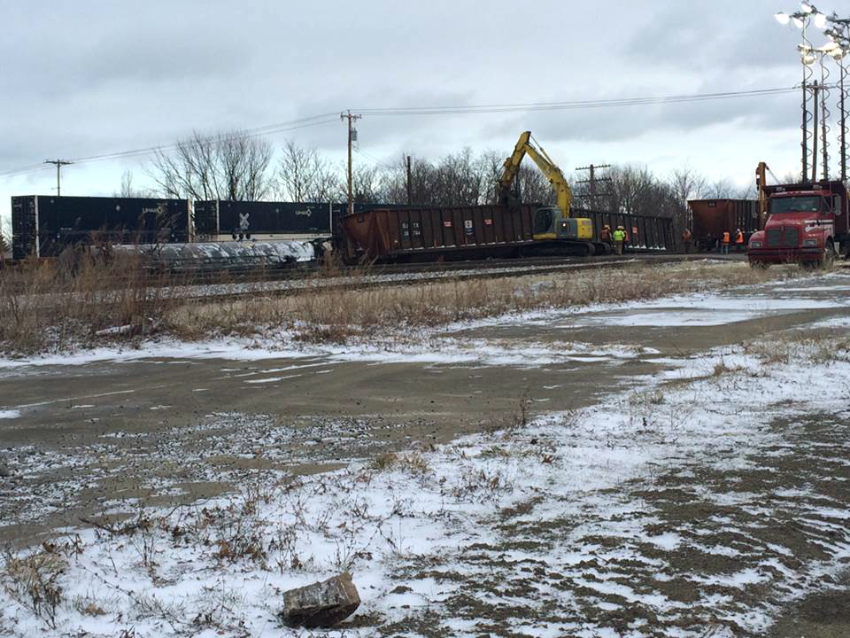 Crews work to clear the site of a 16-car Norfolk Southern freight train derailment that forced the evacuation of dozens of western New York homes after ethanol leaked from two tankers, on Wednesday, in Ripley, N.Y. (Alice Waters/The Observer via AP)