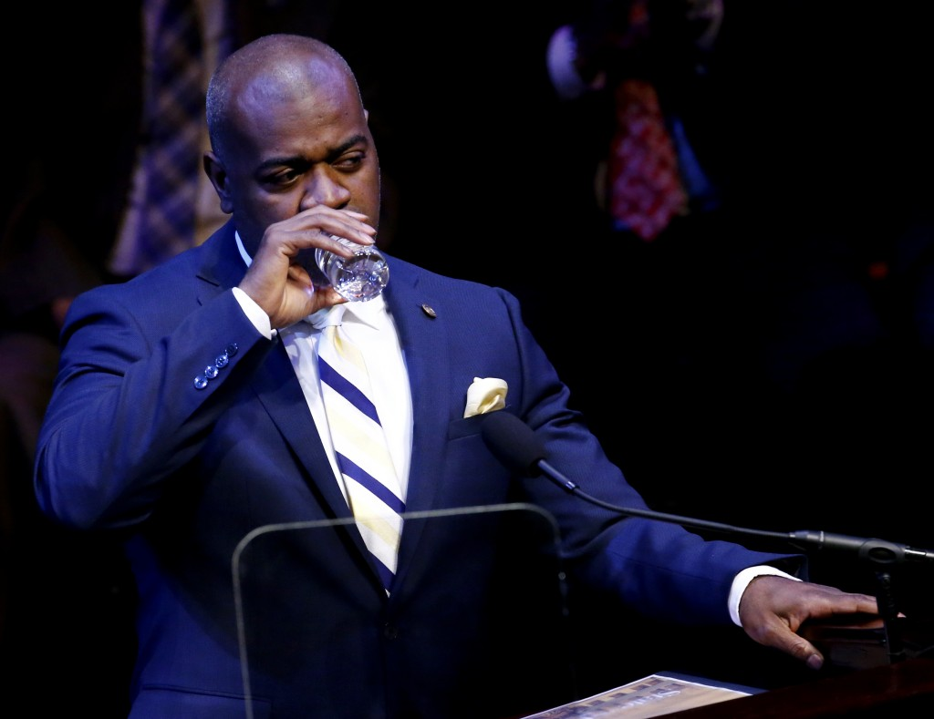 Newark Mayor Ras Baraka delivering his State of the City address  in Newark, N.J., on Tuesday. (AP Photo/Julio Cortez)