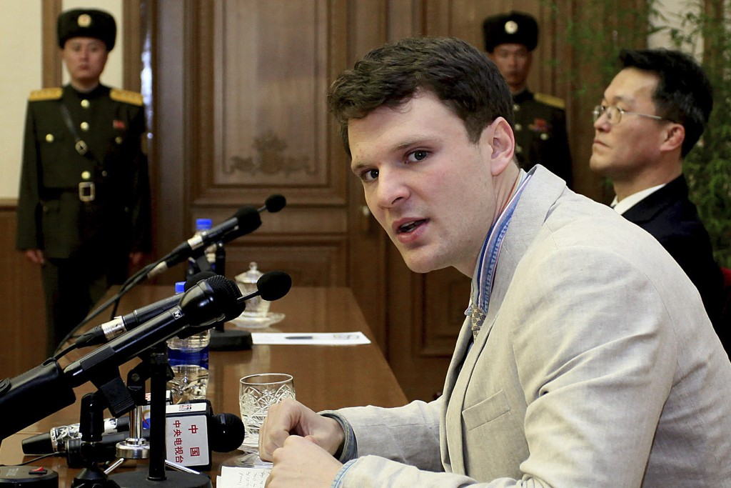 In this Feb. 29 photo, American student Otto Warmbier speaks as he is presented to reporters in Pyongyang, North Korea. (AP Photo/Kim Kwang Hyon, File)
