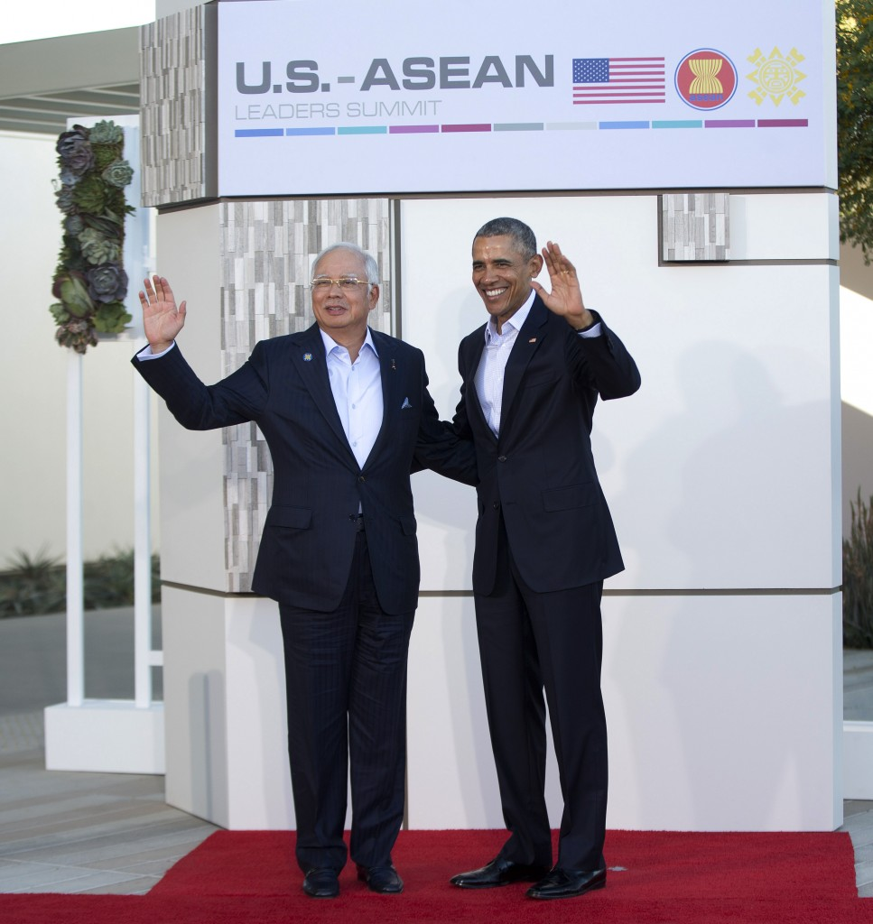 President Barack Obamak right, stands with with Malaysia's prime minister, Najib Razak, left, at a meeting of ASEAN, the 10-nation Association of Southeast Asian Nations, at the Annenberg Retreat at Sunnylands in Rancho Mirage, Calif., Monday, Feb. 15, 2016. Obama and the leaders of the Southeast Asian nations are gathering for two days of talks on economic and security issues and on forging deeper ties amid China's assertive presence in the region. (AP Photo/Pablo Martinez Monsivais)