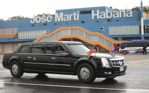 The U.S. presidential limousine is seen on the tarmac at Jose Marti International Airport. (AP Photo/Pablo Martinez Monsivais)