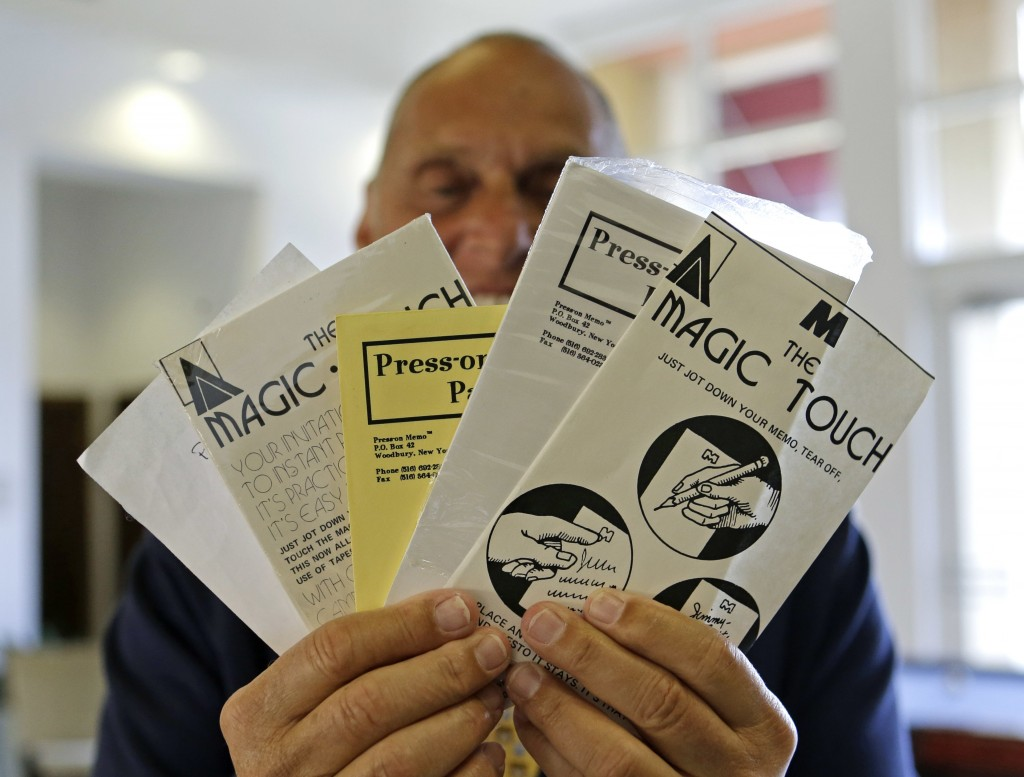 Alan Amron shows his inventions, in West Palm Beach, Fla., on Monday. (AP Photo/Alan Diaz)
