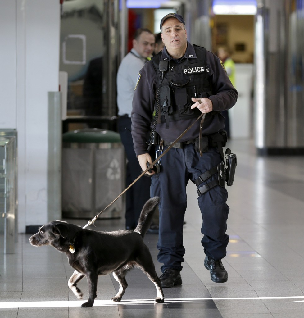 FILE - In this Nov. 25, 2015 file photo, a Port Authority police officer with an explosive-sniffing dog walks through a terminal at LaGuardia Airport in New York. (AP Photo/Seth Wenig, File)