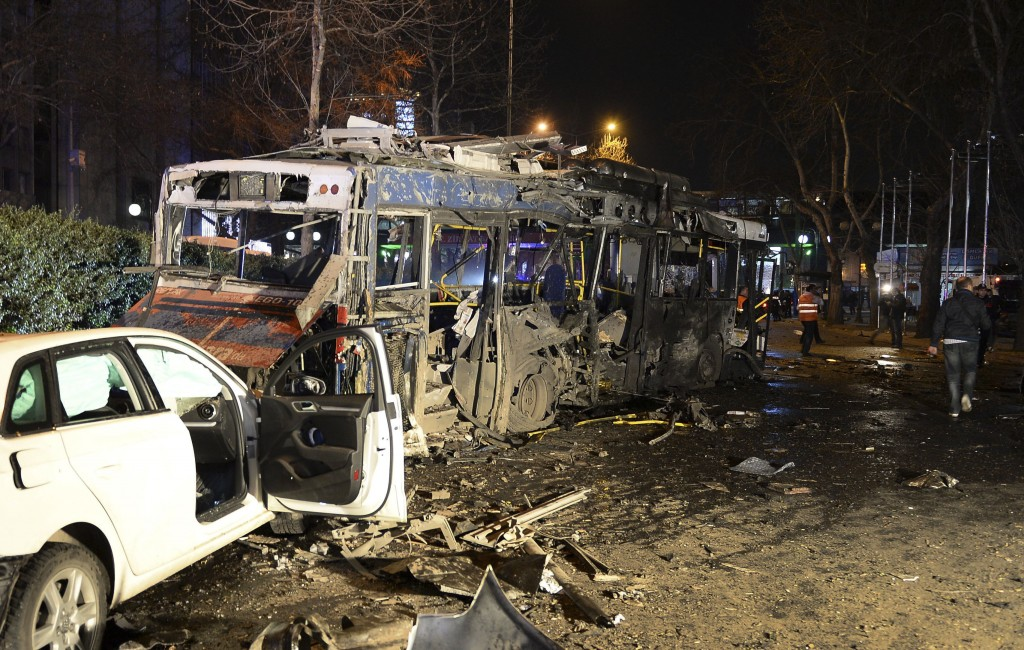 Damaged vehicles at the scene of the explosion in Ankara, Turkey, on Sunday. (Selahattin Sonmez/Hurriyet Daily via AP)