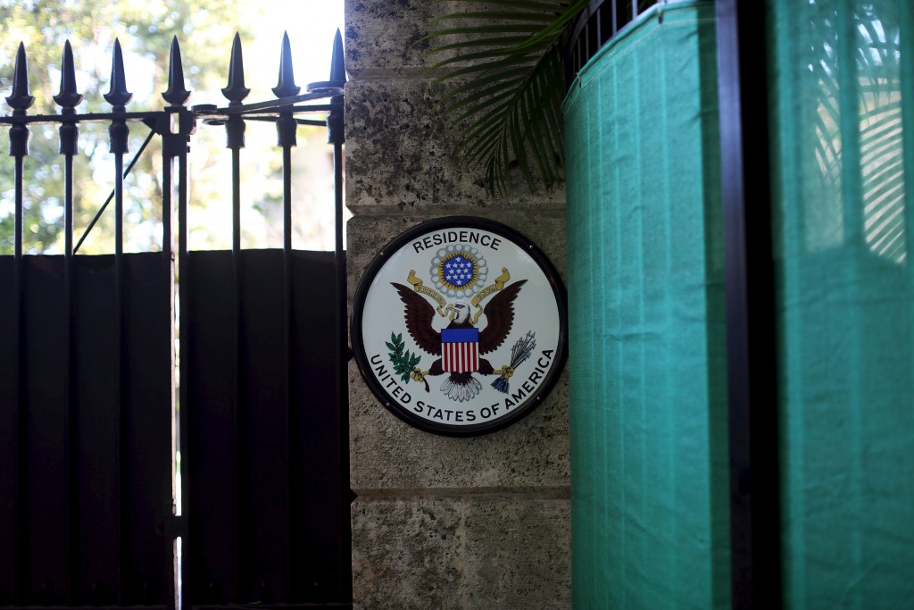 The seal of the United States of America is pictured outside the U.S. ambassadorial residence, where U.S. President Barack Obama, first lady Michelle Obama, their two daughters Malia and Sasha and the first lady's mother Marian Robinson are scheduled to stay during the first visit by a U.S. president to Cuba in 88 years, in Havana, March 14, 2016. Picture taken March 14, 2016. REUTERS/Alexandre Meneghini