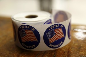 """""""I Voted"""" stickers are seen in Super Tuesday elections at the Wilson School in Arlington, Virginia March 1, 2016. REUTERS/Gary Cameron"""