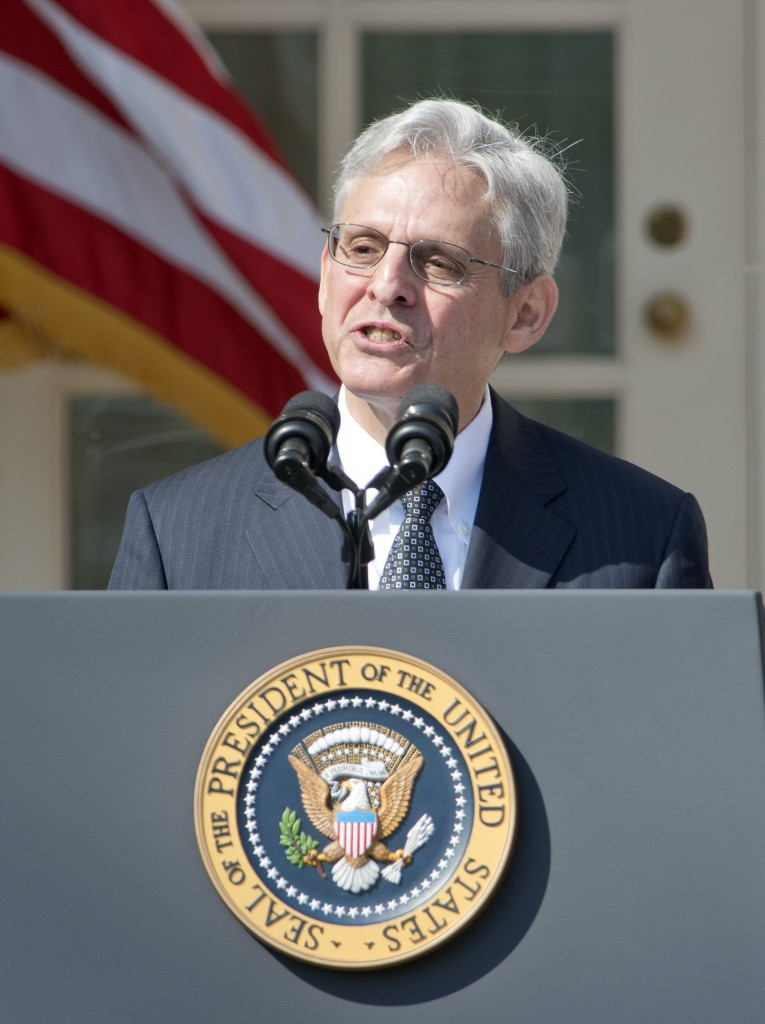 Merrick Garland speaking in the Rose Garden of the White House on Wednesday, after President Barack Obama announced his nomination for the Supreme Court. (Ron Sachs/CNP/Sipa USA/TNS)