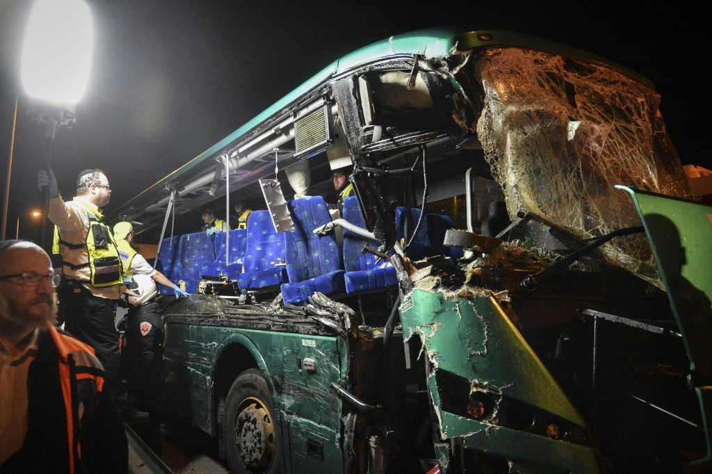 Scene of the February 14, 2016 bus crash. Photo by Flash90
