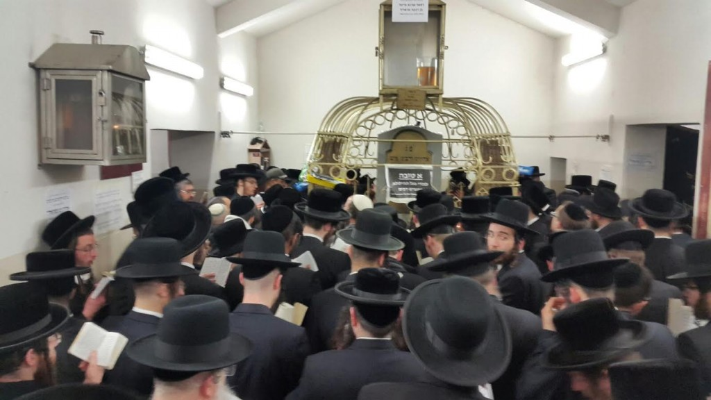 Thousands of Yiden from around the world davening at the tziyon of the Rebbe Reb Elimelach in Lizhensk on the Yoma Dhililu 21 Adar. (Chadashot24)