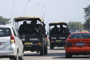 Security forces drive toward Grand Bassam in Abidjan, Ivory Coast, shortly after the terror attacks began on Sunday. (Reuters/Joe Penney)