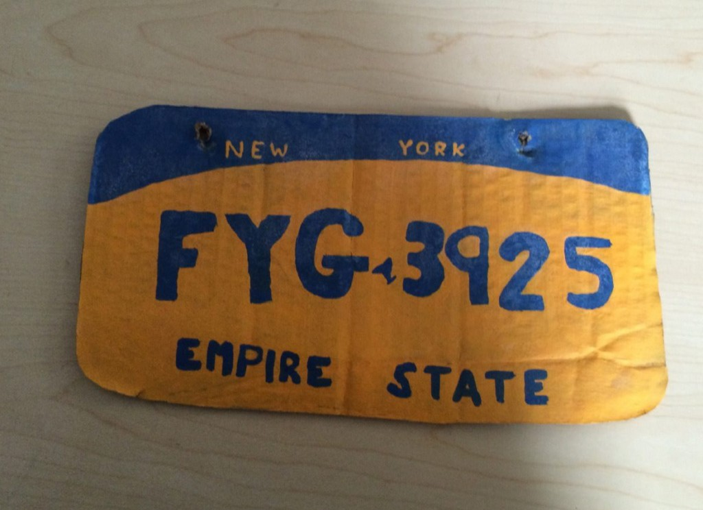 The homemade New York state license plate. (Erie County Sheriff's Office via AP)