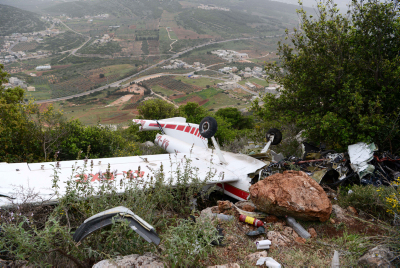 The site where a small aircraft crashed in the Northern Israel on Match 25, 2016. The pilot head of the Civil Administration IDF Brig.-Gen. Munir Amar, 47, died in thecrash. Photo by Basel Awidat/Flash90