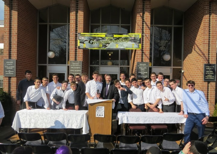 "Talmidim at the ""groundbreaking"" ceremony on Rosh Chodesh Adar. (Avi Mitnick)"